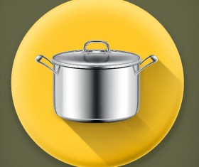 Stainless steel pot vector material