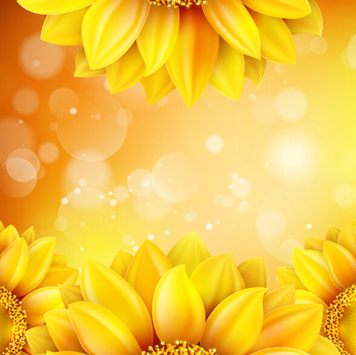 Bokeh Flowers Wedding: Sunflower Flower With Bokeh Vector Background 16 Free Download