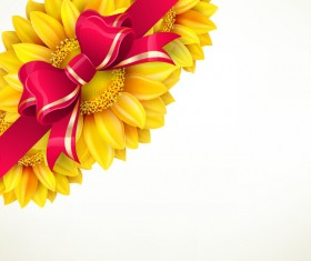 Sunflower flower with red bow vector