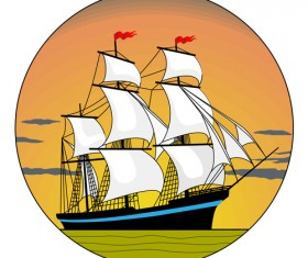 Sunset with sailship vector material