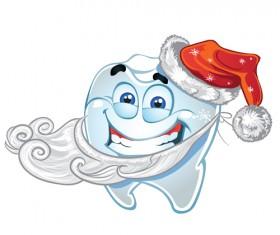 Teeth with santa claus vector