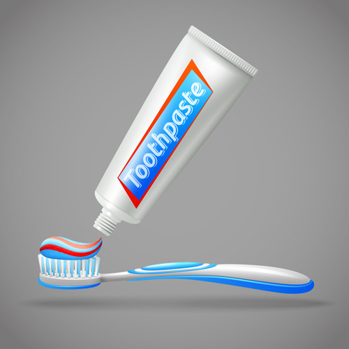 Toothpaste and toothbrush poster vector design 01 - Vector ...