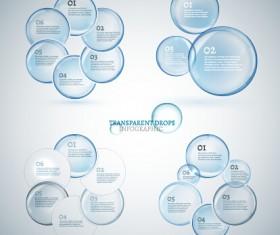 Transparent drops infographics vector 02