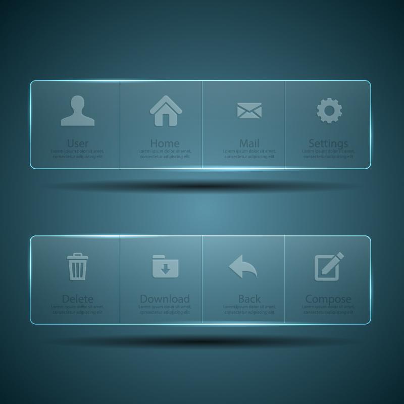 Transparent Web Menu Vector Material Free Download - Website menu design templates