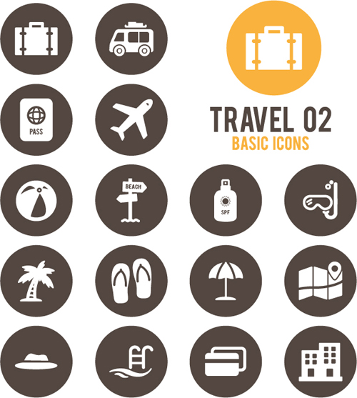 Travel basic icons set