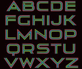 Tricolor alphabet letters vector