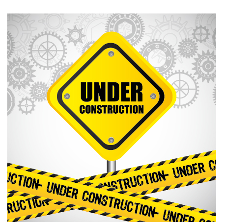 Under construction warning background vector set 08 ...