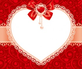 Valentines day heart with lace vector material 01