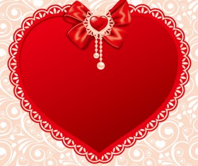 Valentines day heart with lace vector material 02
