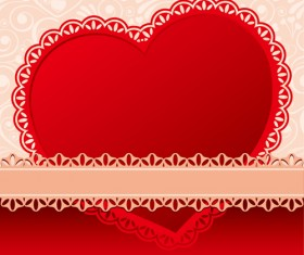 Valentines day heart with lace vector material 03