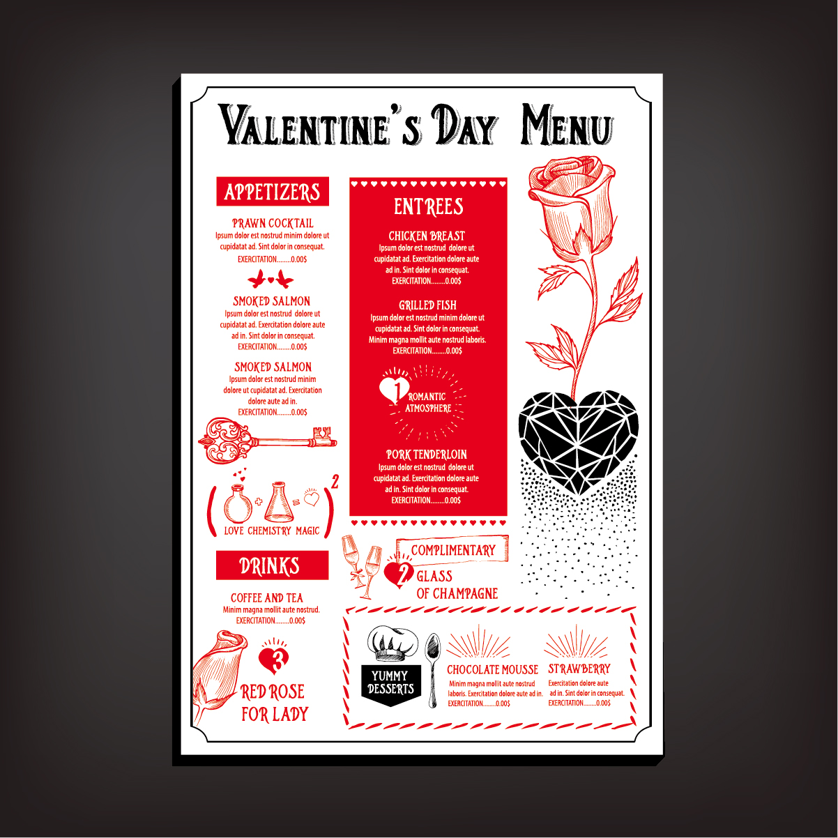 Valentines Day Restaurant Menu Vintage Vector 08 Free Download