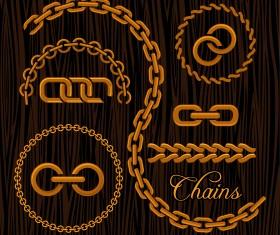 Vector golden chains illustration 02