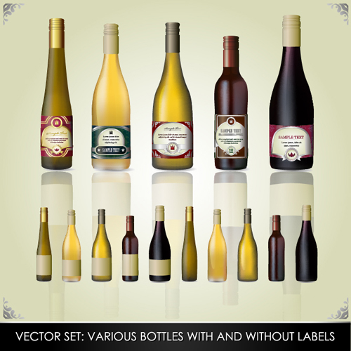 Vector wine bottle design material set 02 vector life for Wine bottle material