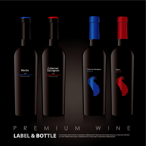 Vector wine bottle design material set 03 vector life for Wine bottle material