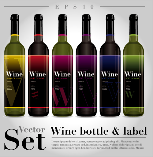 Vector wine bottle design material set 04 vector life for Wine bottle material