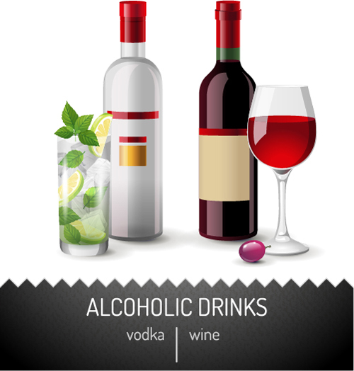 Vector wine bottle design material set 08 free download for Wine bottle material