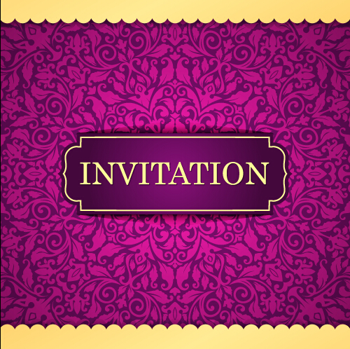 Vintage invitation card with purple floral pattern vector 05