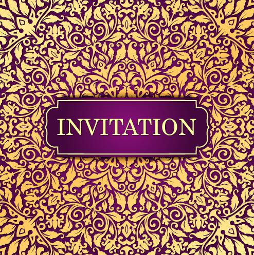 Vintage invitation card with purple floral pattern vector 18 vintage invitation card with purple floral pattern vector 18 stopboris Image collections
