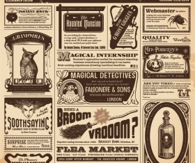 Vintage newspapers vector template 06