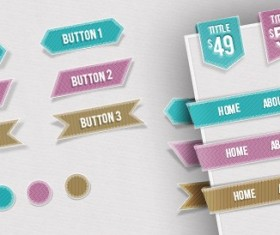 Web Navigations, Buttons, Circles and Ribbons PSD material