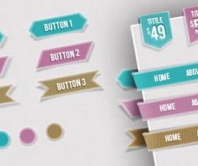 Web Navigations, Buttons, Circles and Ribbons PSD material