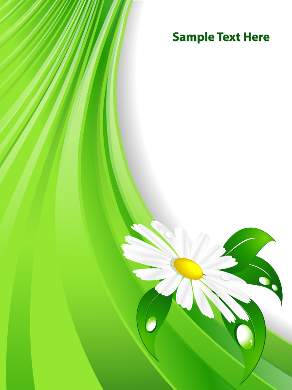 white flower with green abstract vector background