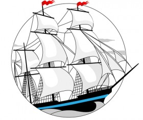 White sailship design vector