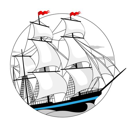 White sailship design vector