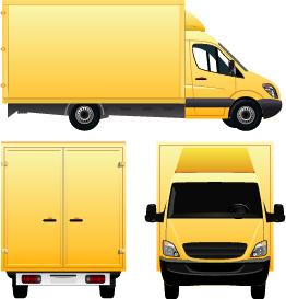 Yellow cargo delivery van vector design
