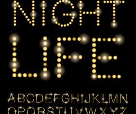 Yellow light dot alphabet vector 01