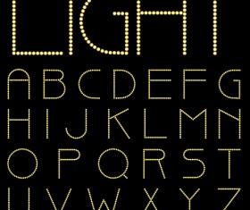 Yellow light dot alphabet vector 02