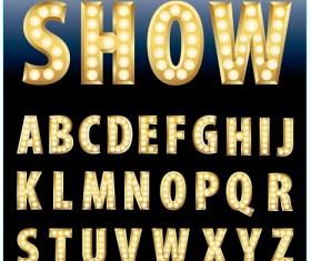 Yellow neon light alphabet vector