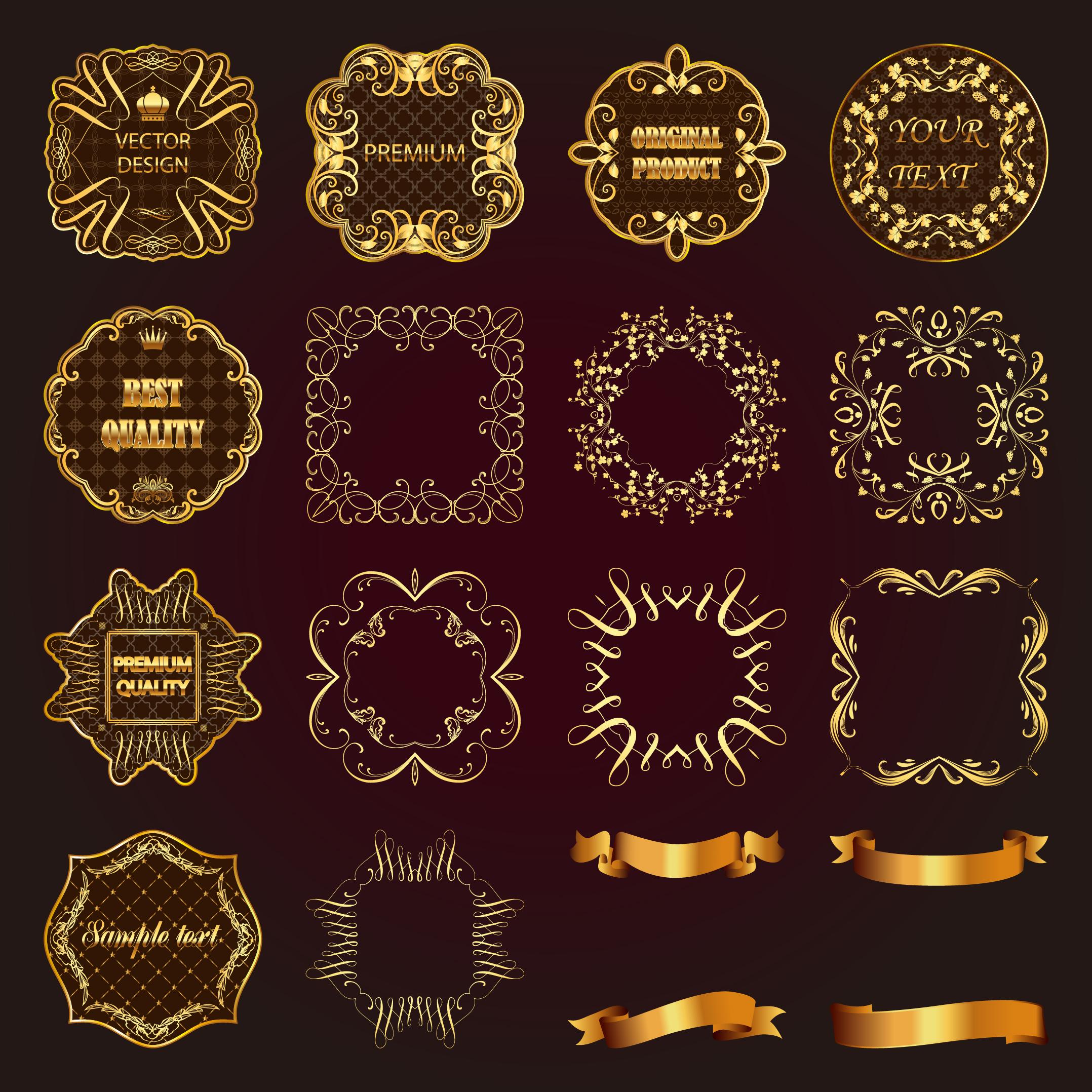gold frame border vector. Wonderful Gold Luxury Gold Frame With Ribbon Vector In Gold Frame Border Vector