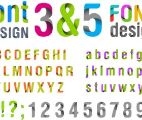 3D abstract alphabet with numbers vector