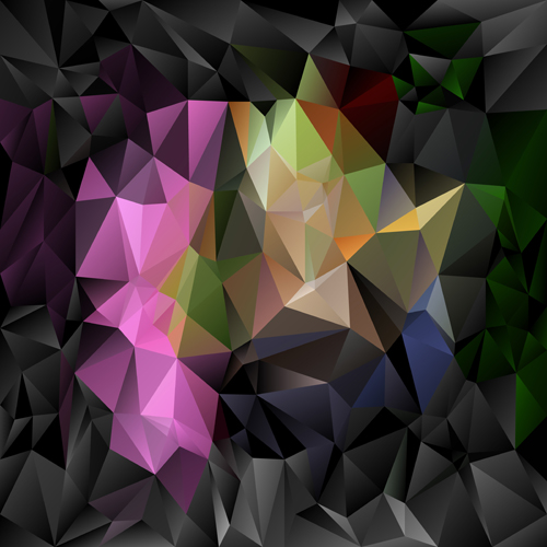3D polygonal background art vector 01