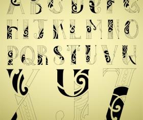 Abstract alphabet font vectors