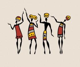 African dancers abstractr vector set 02