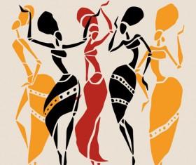 African dancers abstractr vector set 03