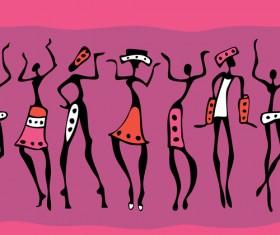 African dancers abstractr vector set 04