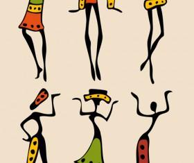 African dancers abstractr vector set 05