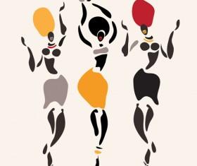 African dancers abstractr vector set 07