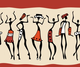 African dancers abstractr vector set 09