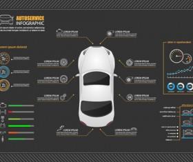 Autoservice infographic dark styles vector