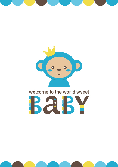 baby shower card with monkey vector 04 download name baby shower card