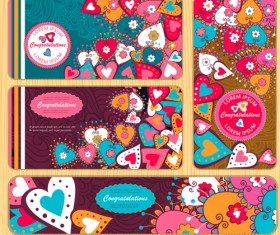 Banners doodle with heart vector 02