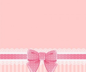 Beautiful bow card with lace vector 01