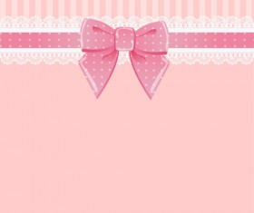 Beautiful bow card with lace vector 02