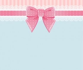 Beautiful bow card with lace vector 03