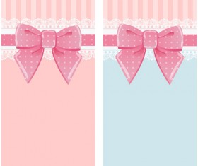 Beautiful bow card with lace vector 04