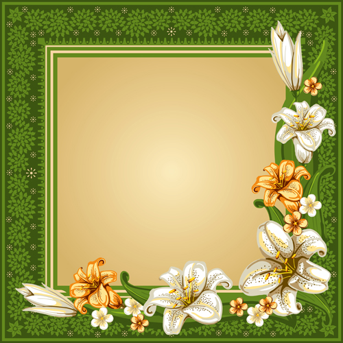 Beautiful flower with retro frame vector material 04 free download